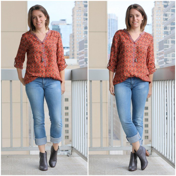 FashionablyEmployed.com | Fall, patterned blouse with boyfriend jeans and booties for a casual weekend look| Simple and sustainable style for everyday professional women | work wear, office style