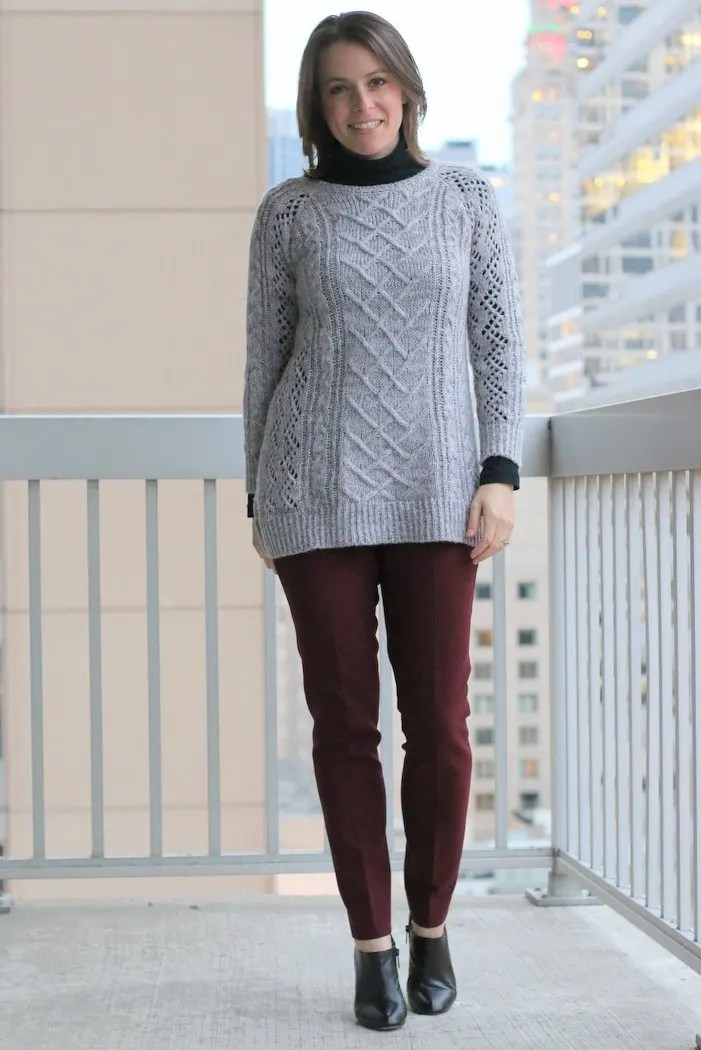 FashionablyEmployed.com | Black turtleneck layered under gray sweater with maroon pants and black ankle boots | Simple and sustainable style for everyday professional women | wear to work, office style