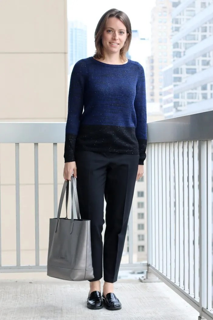 FashionablyEmployed.com | Thrifted black and blue sweater with cropped trousers and loafers for work, sivler Cole Haan tote bag | Simple and sustainable style for everyday professional women | work wear, office style
