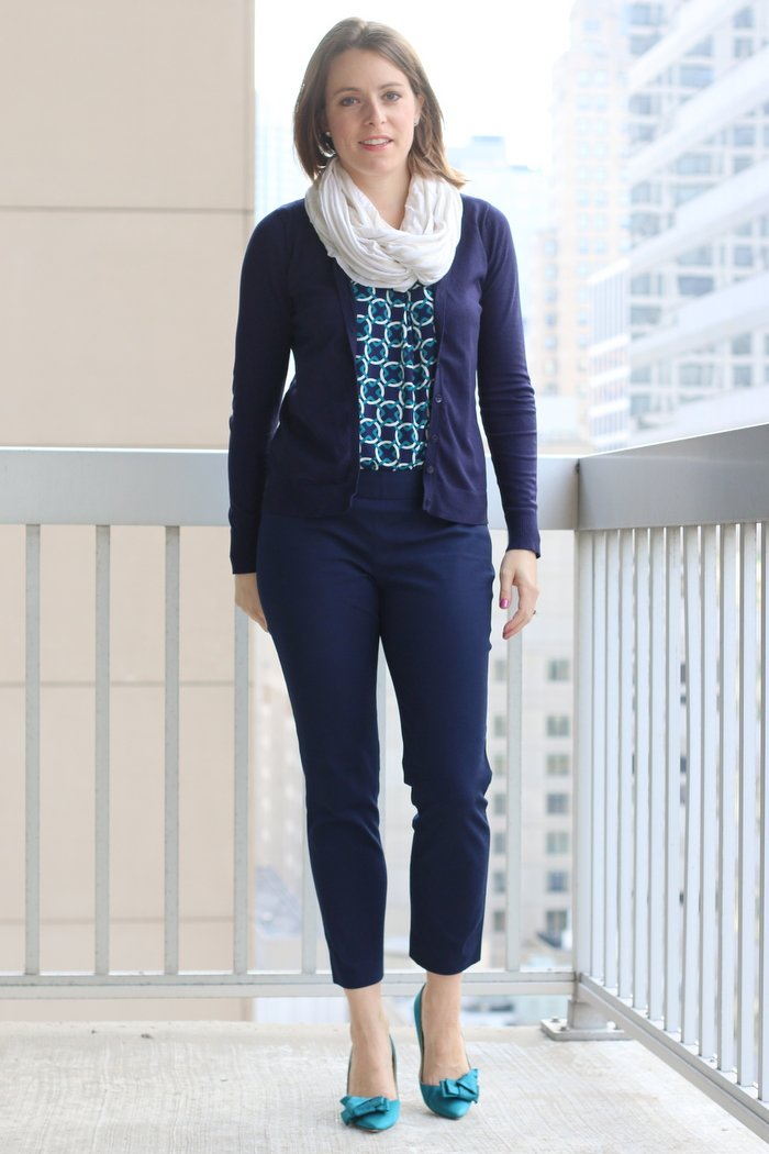 FashionablyEmployed.com | Navy cropped pants with teal and navy patterned blouse, navy cardigan and cream circle scarf for the office | Simple and sustainable style for everyday professional women | work wear, office style