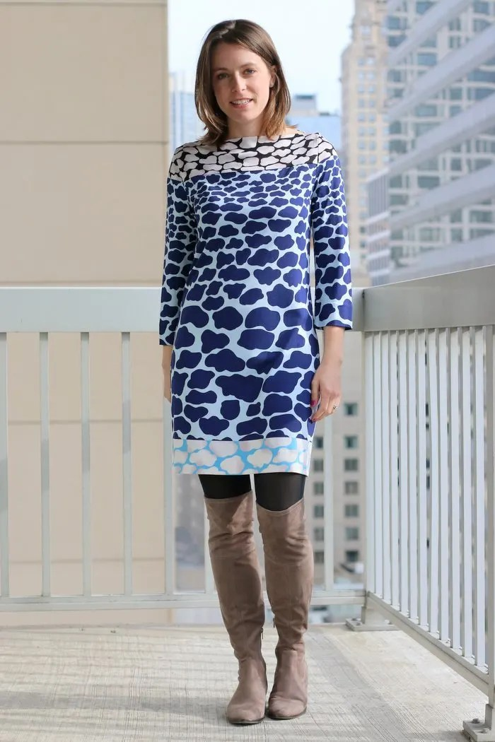 Thrifted giraffe printed DVF dress with over the knee boots | Simple and sustainable style for everyday professional women | FahsionablyEmployed.com