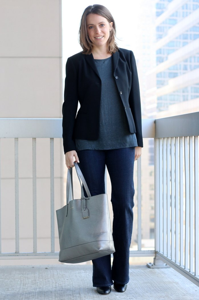 FashionablyEmployed.com | Black blazer, gray Everlane shirt, dark flared jeans and black heels with silver tote, casual Friday style | Simple and sustainable style for everyday professional women | wear to work, office style, workwear