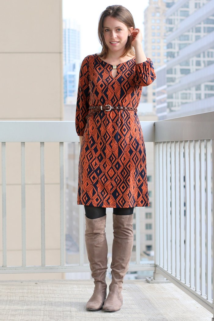 FashionablyEmployed.com | Orange and navy relaxed dress with other the knee boots for the office | wear to work, office style, simple style for everyday professional women