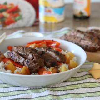 Asian-Inspired Marinated Skirt Steak with Pineapples and Red Peppers