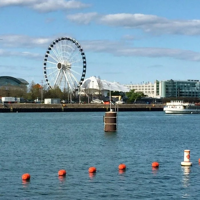 Navy Pier Ferris Wheel over Lake Michigan