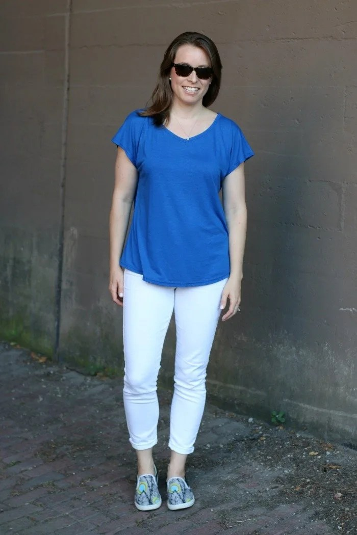blue shirt and white jeans with bucketfeet shoes