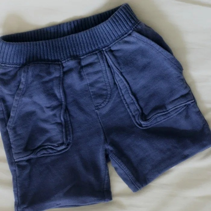 DIY hemmed shorts for little boy - winter to summer style DIY - square