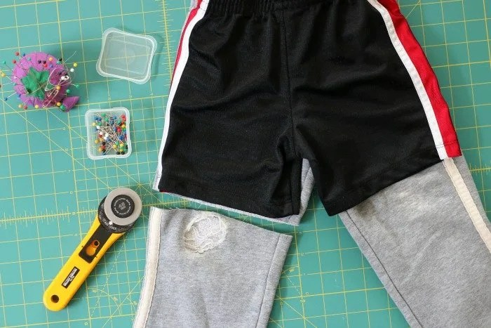 DIY pants to shorts for little boys cutting the pants