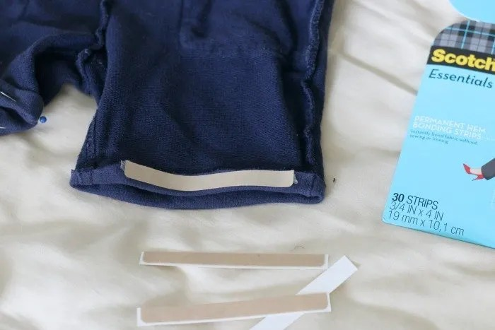 bonding tape on side hem of shorts so they don't fray