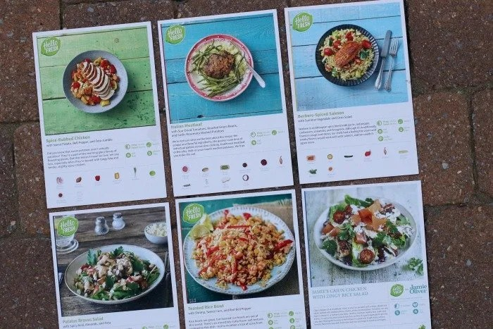 Hello Fresh menu cards for one week