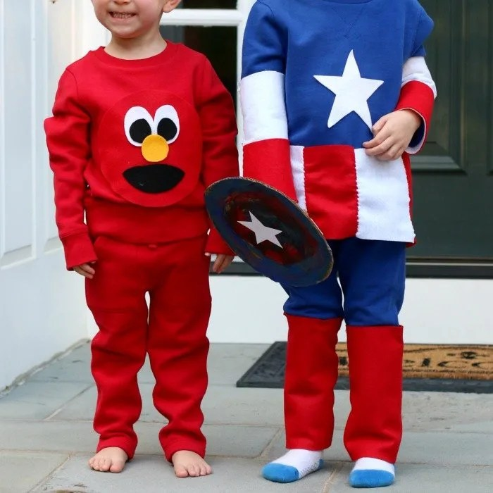 Easy DIY Sustainable Elmo and Captain American Costume Tutorials