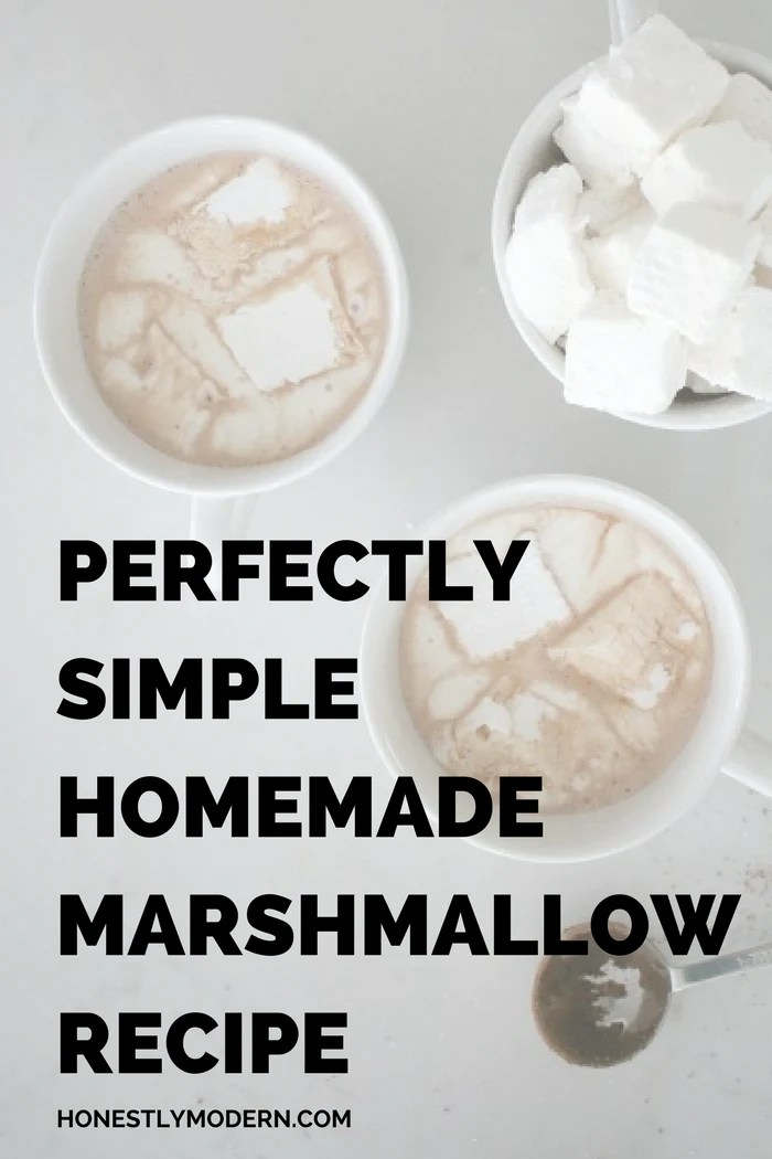 Try this quick and simple homemade marshmallow recipe and say goodbye to store bought brands! So much tastier and melts perfectly in your mouth. Click through for the easy recipe.