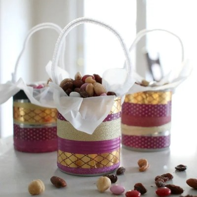 Simple Washi Tape & Tin Can Mini Gift Bucket DIY For Kids