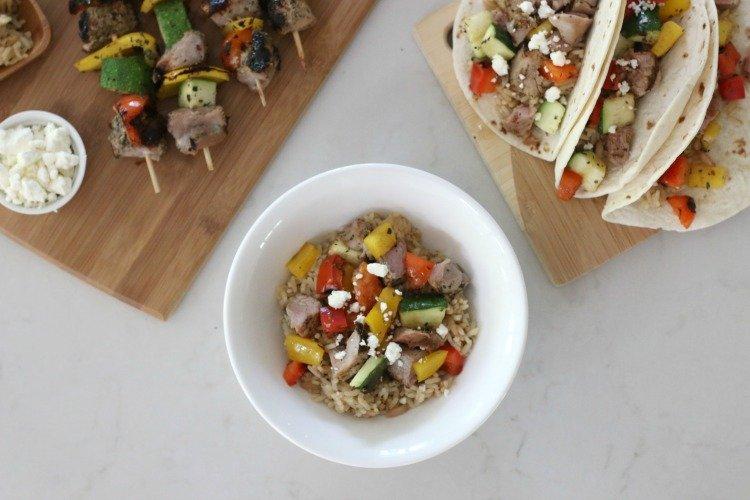 Mediterranean Pork & Veggie Rice Bowl
