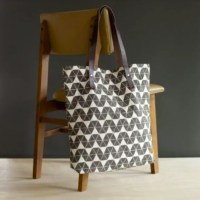 Canvas And Leather Peak Print Tote In Grey