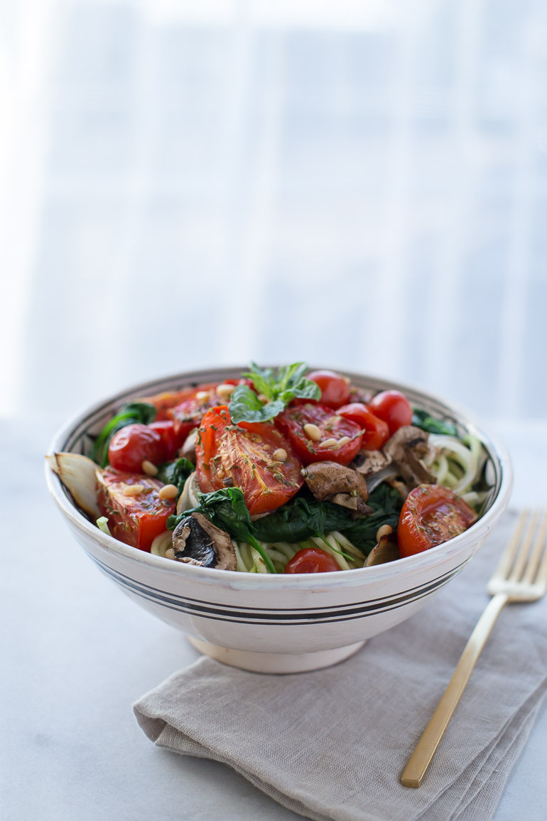Zucchini Noodles with Roasted Vegetables and Spicy Marinara | www.honestlynourished.com
