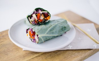 Collard Green Wrap With Simple Detoxifying Cabbage Slaw | Make your favorite wrap sandwich healthier by simply substituting a collard green leaf for the bread. Nutritious, detoxifying, paleo, grain free, gluten free, dairy free—what's not to love? Click to get the recipe! | Honestly Nourished | www.honestlynourished.com