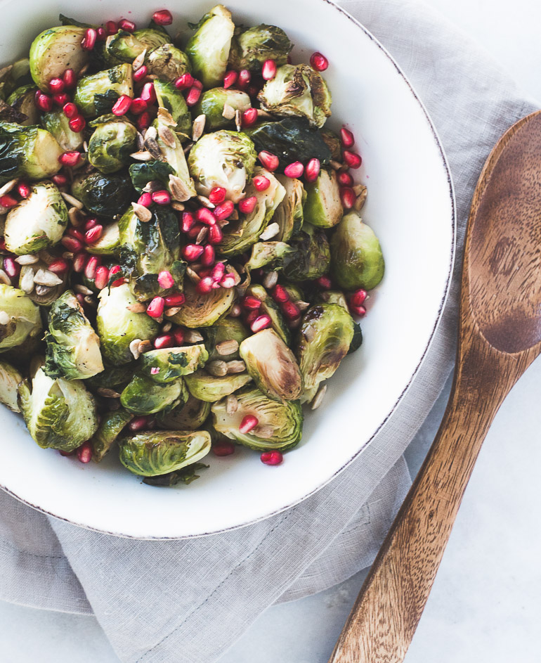 Roasted-Dijon-Brussels-Sprouts-with-Pomegranate-Sprinkles-and-Toasted-Sunflower-Seeds-Honestly-Nourished
