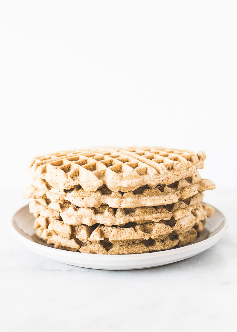 The Best Grain-Free, Cashew Butter Waffles Ever (paleo + dairy free + sugar free) | The perfect paleo waffle that can be eaten sweet or savory! This classic waffle recipe uses blanched almond flour instead of refined grains and has no added sweetener (meaning you can load on the toppings!). It is appropriate for anyone following an AIP diet or trying to reduce the amount of simple, refined carbohydrates and sugar in their diet. It will not disappoint! | Honestly Nourished | www.honestlynourished.com