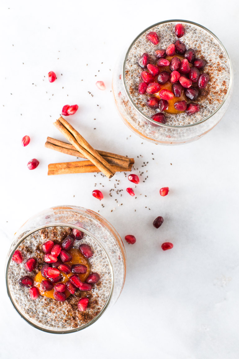 This chai tea inspired chia pudding is infused with warming cinnamon, garam masala, ginger, and black pepper then layered between persimmon puree to create a simple and stunning breakfast or snack. | Honestly Nourished www.honestlynourished.com