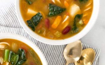 Vegan Slow Cooker Minestrone Soup | The perfect soup to have on hand for busy weeks—classic minestrone soup filled with protein-rich legumes, a grain-free chickpea pasta, and fresh herbs. | Honestly Nourished