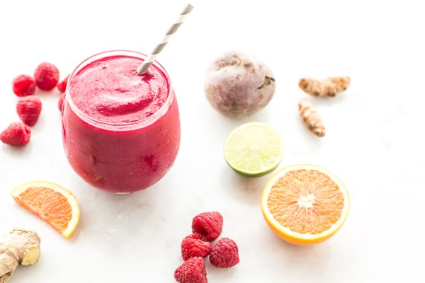 Detoxifying Ginger Berry Beet Smoothie