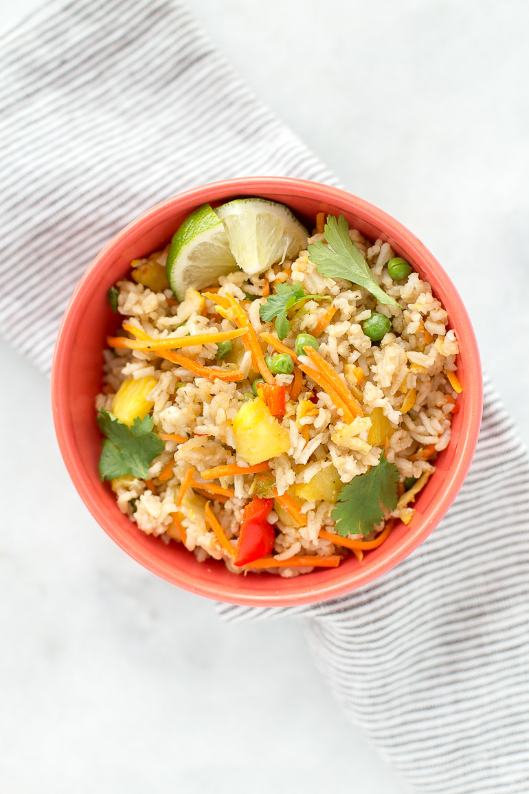 Satisfy your weeknight take-out craving with this flavorful, healthy one-pan pineapple fried rice that comes together in less than 30 minutes. {vegetarian + gluten free + paleo option} | Honestly Nourished