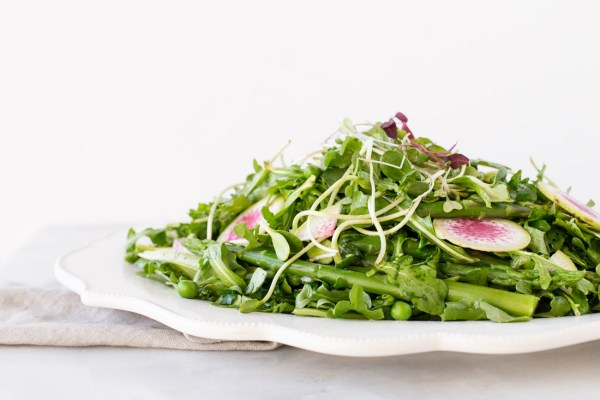 Spring Pea, Arugula, and Asparagus Salad with Meyer Lemon and Honey Shallot Dressing
