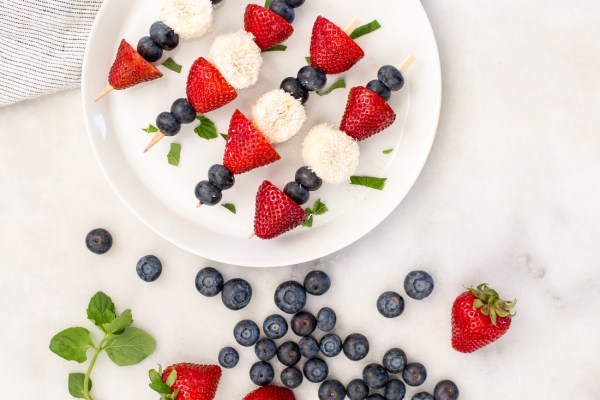 Patriotic Fruit Kabobs with Coconut {vegan + gluten free + paleo}