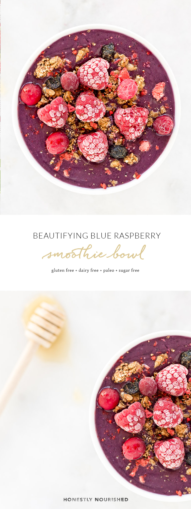A vibrant, beautifying blue raspberry smoothie bowl to nourish your skin from the inside out with heaps of good-for-you ingredients like chia seeds, seasonal summer fruit, and collagen peptide protein powder! Paleo, GF, no sugar! | via Honestly Nourished