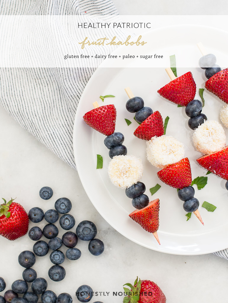 Take advantage of berry season and serve up these healthy patriotic fruit kabobs with coconut at your upcoming Fourth of July weekend shindig or barbecue. They are literally summer on a stick! | paleo + gluten free + refined sugar free + vegan