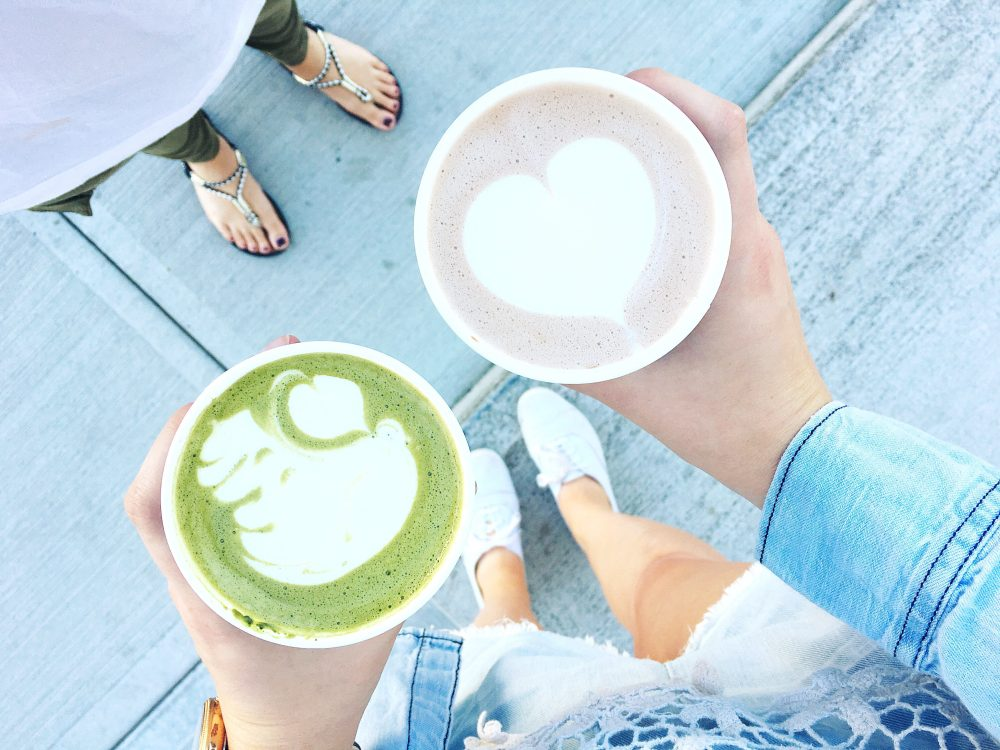 Matcha Latte and Mocha Latte from Rosso Coffee Roasters
