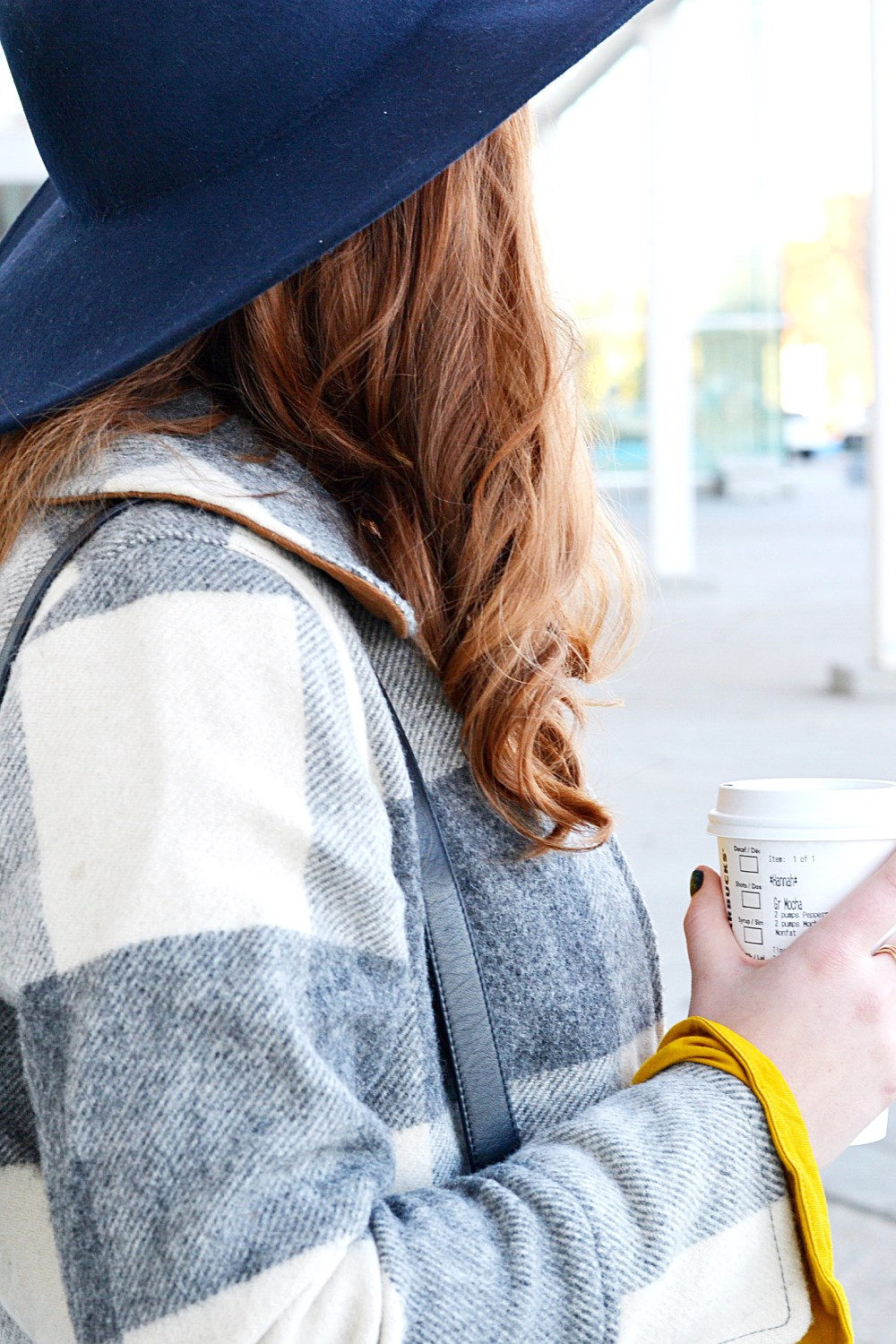 Grey and White Plaid Wool Chic Coat