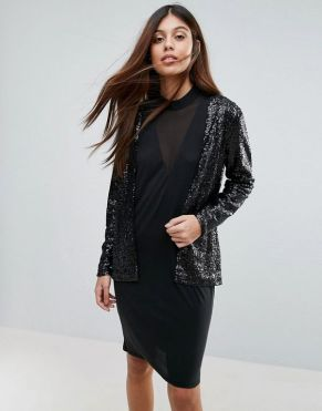 mesh LBD with sequined cardigan