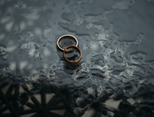 two rings after divorce on table with rain
