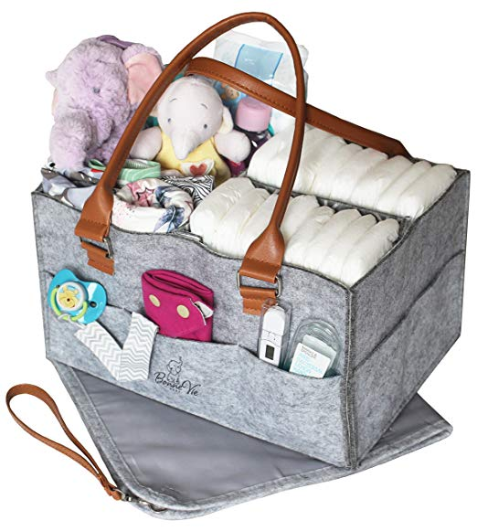 Easy DIY baby gifts - diaper bag tote caddy set portable changing table