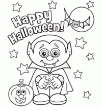 Halloween Little Vampire Coloring Page - Happy Halloween coloring pages