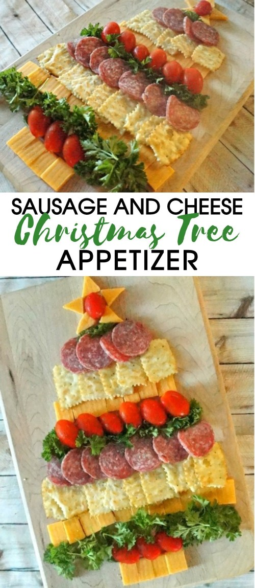 Holiday Party Food- Cheese Cracker and Sausage Christmas Tree Appetizer