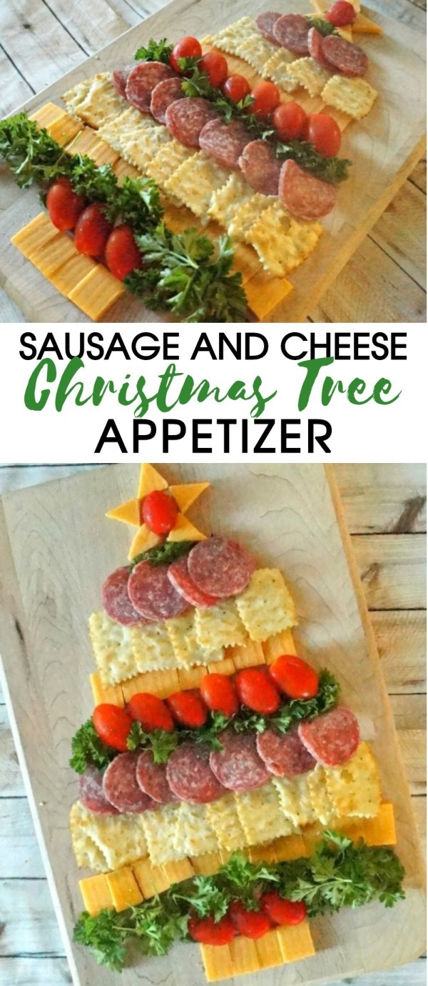 Holiday Party Food- Christmas tree cheese platter with sausage appetizer