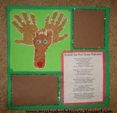Making reindeer Christmas cards, painted hand and foot reindeer craft