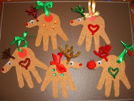 Reindeer Christmas cards, hand print reindeer ornaments