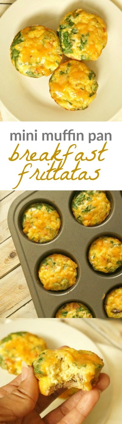 Healthy breakfast egg cups - TheseTurkey Bacon and Egg breakfast cups with and veggies are perfect to make ahead for a quick morning protein breakfast!