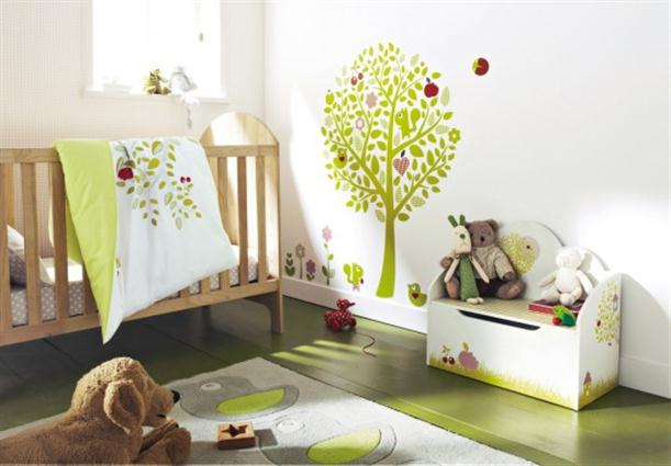 Light green white Cheerful and Colorful Nursery Baby Room Design Ideas