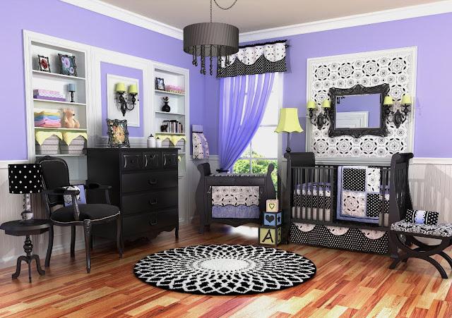 Purple nursery baby room ideas black white purple nursery crib set