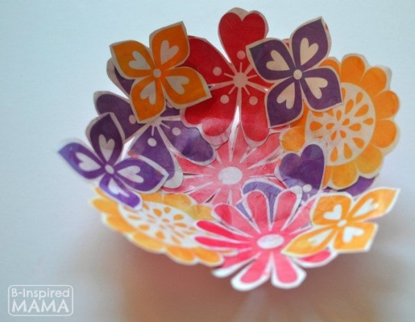 Paper flower bowl craft - cute gift ideas for mom
