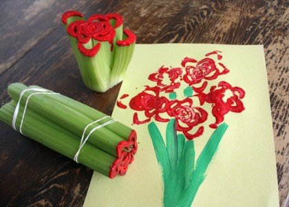 Cute Mothers day crafts for kids - Celery bouquet art