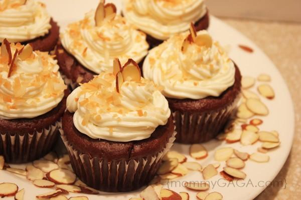 Almond joy candy bar filled cupcakes