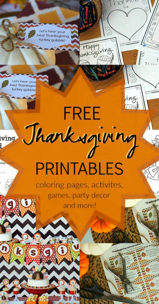 15 FREE Thanksgiving printable coloring pages, printable activities, games, Thanksgiving party decor and more!