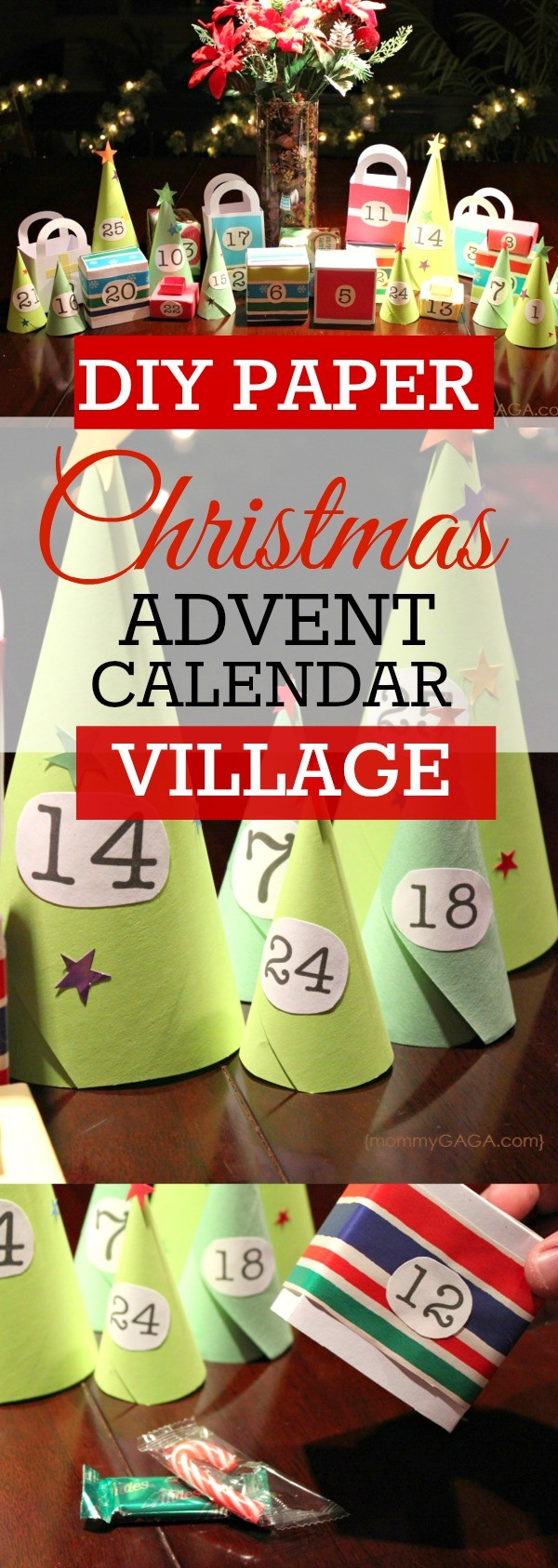 DIY paper Christmas advent calendar village - Count down to Christmas day with this fun homemade advent calendar, lift each house and tree and find a treat inside!