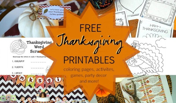 free Thanksgiving printables games, activities, Thanksgiving coloring pages, party decorations, and more